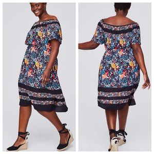 Loft Plus Flower Bed Off The Shoulder Dress